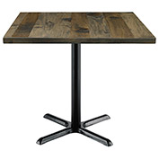 "KFI 36"" Square Vintage Wood Top Table - Barnwood"