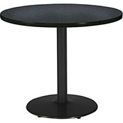 "KFI 42"" Round Pedestal Table with Graphite Nebula Top Round Black Base"