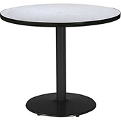 "KFI 42"" Round Restaurant Table  -  Grey Nebula Top Round Black Base"
