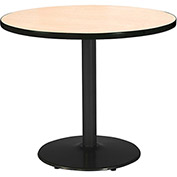 "KFI 42"" Round Pedestal Table with Natural Top Round Black Base"