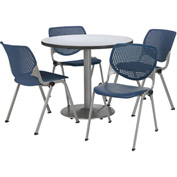 "KFI Table & 4 Chair Set - Navy Polypropylene Cafe Chairs & 42""W x 29""H Round Gray Nebula Table"