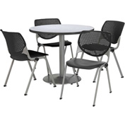 "KFI Table & 4 Chair Set - Black Polypropylene Cafe Chairs & 42""W x 29""H Round Gray Nebula Table"