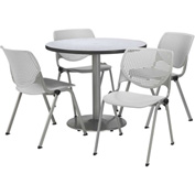 "KFI Table & 4 Chair Set - Light Gray Polypropylene Cafe Chairs & 42""W x 29""H Round Gray Nebula Table"