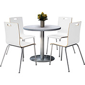 "KFI 42"" Grey Nebula Round Table & 4 Chair Set in White Finish"