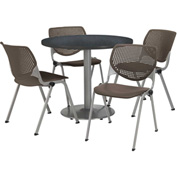 "KFI Table & 4 Chair Set - Brownstone Polypropylene Cafe Chairs & 42""W x 29""H Round Graphite Table"