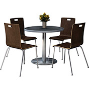 "KFI 42"" Graphite Nebula Round Table & 4 Chair Set in Espresso Finish"