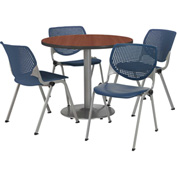 "KFI Table & 4 Chair Set - Navy Polypropylene Cafe Chairs & 42""W x 29""H Round Mahogany Table"