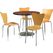 "KFI Table & 4 Chair Set - Stacking Wood Chairs, Natural Finish & 42""W x 29""H Round Mahogany Table"