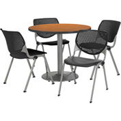 "KFI Table & 4 Chair Set - Black Polypropylene Cafe Chairs & 42""W x 29""H Round Medium Oak Table"