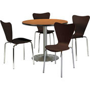 "KFI Table & 4 Chair Set - Stacking Wood Chairs, Espresso Finish & 42""W x 29""H Round Medium Oak Table"