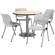 "KFI Dining Table & Chair Set - Round - 42""W x 29""H - Light Gray Plastic Chairs with NaturalTable"