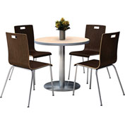 "KFI 42"" Round Dining Table & 4 Chair Set - Natural Table with Espresso Chairs"