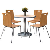 "KFI 42"" Natural Round Table & 4 Chair Set in Natural Finish"