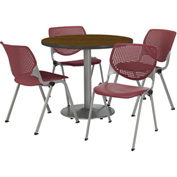 "KFI Table & 4 Chair Set - Burgundy Polypropylene Cafe Chairs & 42""W x 29""H Round Walnut Table"