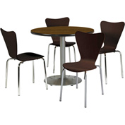"KFI Table & 4 Chair Set - Stacking Wood Chairs, Espresso Finish & 42""W x 29""H Round Walnut Table"