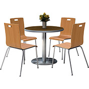 "KFI 42"" Walnut Round Table & 4 Chair Set in Natural Finish"