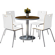 "KFI 42"" Walnut Round Table & 4 Chair Set in White Finish"