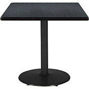 "KFI 42""W Square Pedestal Table with Graphite Nebula Top, Round Black Base"