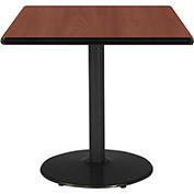 "KFI 42""W Square Pedestal Table with Mahogany Top, Round Black Base"