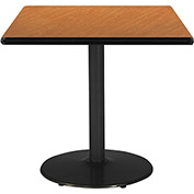 "KFI 42""W Square Pedestal Table with Medium Oak Top, Round Black Base"