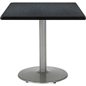 "KFI 42""W Square Pedestal Table with Graphite Nebula Top, Round Silver Base"