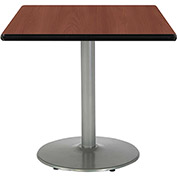 "KFI 42""W Square Pedestal Table with Mahogany Top, Round Silver Base"