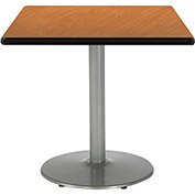 "KFI 42""W Square Pedestal Table with Medium Oak Top, Round Silver Base"