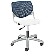KFI Poly Task Chair with Casters and Perforated Back - Navy/White