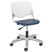 KFI Poly Task Chair with Casters and Perforated Back - White/Navy