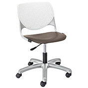 KFI Poly Task Chair with Casters and Perforated Back - White/Brownstone