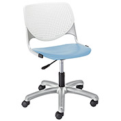KFI Poly Task Chair with Casters and Perforated Back - White/Sky Blue