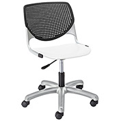 KFI Poly Task Chair with Casters and Perforated Back - Black/White