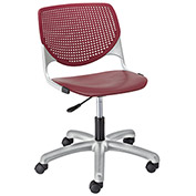 KFI Poly Task Chair with Casters and Perforated Back - Burgundy