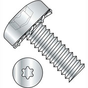 4-40X5/16  Six Lobe Pan Head External Tooth Sems Machine Screw Full Thrd Zinc Bake, Pkg of 10000