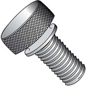 4-40X3/8  Knurled Thumb Screw with Washer Face Full Thread Aluminum, Pkg of 100