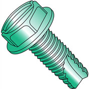 8-32X1/4  Slotted Indented Hex Washer Thread Cutting Screw Type 23 Full Thrd Zn Grn, Pkg of 10000