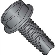 8-32X3/8  Unslotted Indented Hex Washer Thread Cutting Screw Type 23 Full Thrd Black, Pkg of 10000
