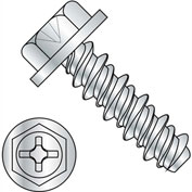 #8 x 3/8 #6HD Phillips Indented Hex Washer High Low Fully Threaded Zinc Bake - Pkg of 10000