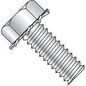 8-32 x 1/2 Unslot Indent Hex 5/16 AF Sems Machine Screw - Full Thread - Zinc - Pkg of 10000