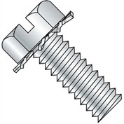 8-32X1/2  Slotted Hex Head External Sems Machine Screw Fully Threaded Zinc Bake, Pkg of 10000