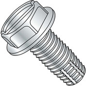 8-32X1 3/4  Slotted Indented Hex Washer Thread Cutting Screw Type F Full Thrd Zinc, Pkg of 2000