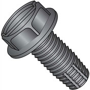 10-24X1/2  Slotted Hex Washer Thread Cutting Screw Type F Full Thrd Black Oxide, Pkg of 10000