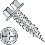 "10-16X1/2  Combo (slot/phil) Ind Hexwasher 1/4"" Across Flats F/T Self Piercing Screw Zinc,5000 pcs"