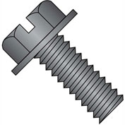 10-24X3  Slotted Indented Hex Washer Head Machine Screw Fully Threaded Black Oxide, Pkg of 700