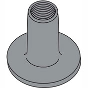 10-32X9/32  WELD NUT WITH .750 ROUND BASE STEEL Plain, Pkg of 1000