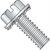 10-32X3/4  Slotted Hex Washer External Sems Machine Screw Fully Threaded Zinc Bake, Pkg of 4000