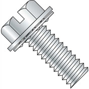 10-32X3/4  Slotted Indent Hexwasher Internal Sems Machine Screw Full Thread Zinc Bake, Pkg of 4000