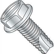 12-24X1 1/4  Slotted Indented Hex Washer Thread Cutting Screw Type 23 Full Thrd Zinc, Pkg of 2500