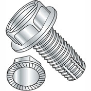 1/4-20X5/8  Slotted Indented Hex Washer Thread Cutting Screw Type F Serrated Full Thrd, Pkg of 3000