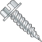 """#14 x 1 Slotted Ind. Hex Washer 3/8"""" Across Flats FT Self Piercing Screw Zinc Needle Pt - 1000 Pk"""